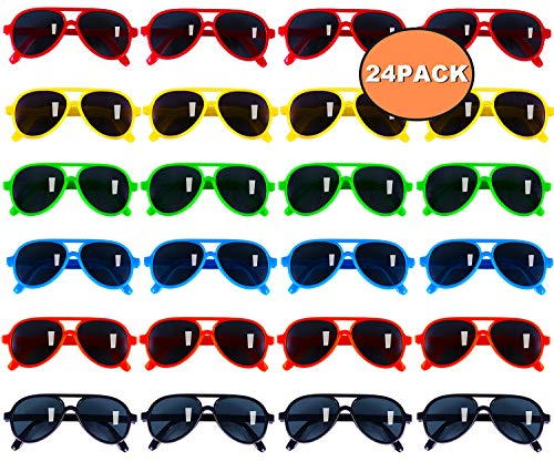 Kids Sunglasses Party Favors, Aviator Sunglasses in Bulk 24 Pack for Kids, Pool Party Favors, Goody Bag Stuffers, Beach Party Toys, Fun Gift for Children Birthday & Graduation Party Supplies ()