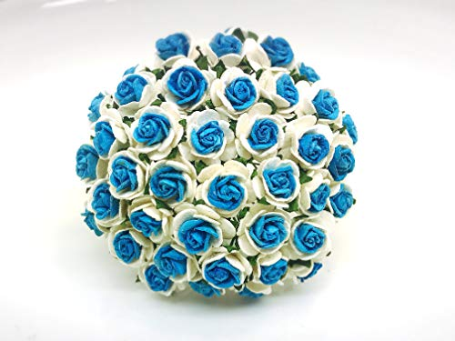 Tyga_Thai Brand 50 pcs. White Blue Color Rose Mulberry Paper Flower Craft Handmade Wedding 15 mm. Scrapbook for so Many Card & Craft Projects CMR2-4#865 (MULBERRY-PAPAER-ROSE-15MM) ()