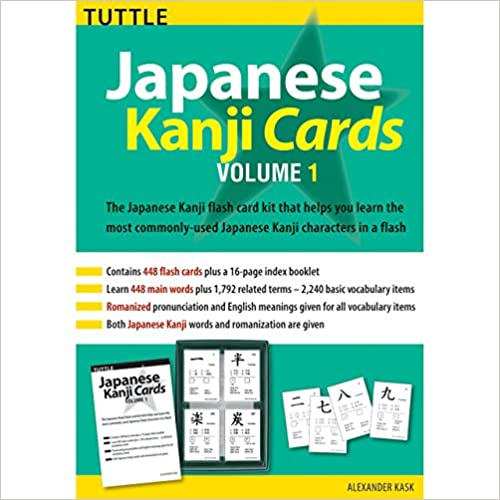 Japanese Kanji Cards Kit Volume 1: Learn 448 Japanese Characters Including Pronunciation, Sample Sentences & Related Compound Words (Tuttle Flash Cards)