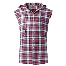 NUTEXROL Men's Casual Flannel Plaid Shirt Sleeveless Cotton Plus Size