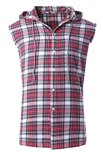 - NUTEXROL Men's Casual Flannel Plaid Shirt Sleeveless Cotton Plus Size Vest Red and Grey