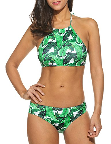 Ekouaer Womens Forest Leaves Printing High Neck Halter Bikini Set Swimsuit (Green, S)
