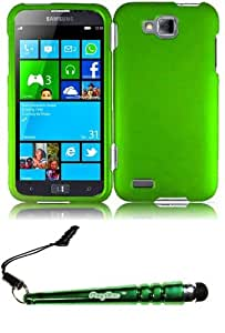 FoxyCase(TM) FREE stylus AND For Samsung ATIV S T899m Rubberized Cover Case - Neon Green cas couverture