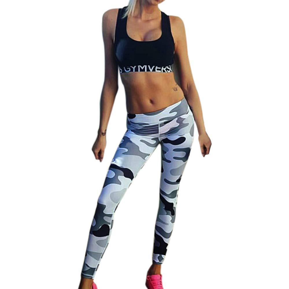 LOVELYOU Femme Legging Camouflage Imprimé Pantalon Yoga Casual Slim Sport Jogging Pants Taille Haute Cargo Hip Hop Trousers