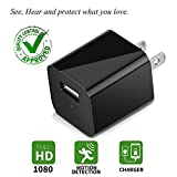 Charger Camera USB Wall Charger Camera Mini USB Security Camera Motion Detection Phone Charger Camera Nanny Camera with Built-in 32GB Memory Card Black