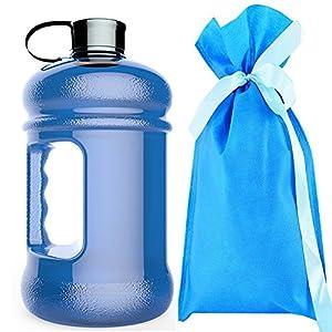 2.2 Litre(74OZ) Sport Water Bottle -Water Jug-Wave bottles-Drinking Bottle-3.2 Inch Wide Mouth with BPA Free (Deep Blue)