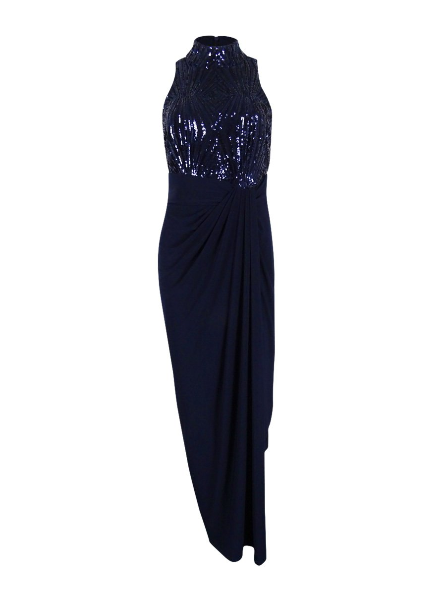Lauren by Ralph Lauren Womens Meade Fold-Over Mock Neck Evening Dress Navy 4 by RALPH LAUREN