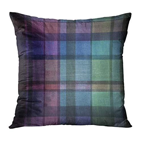 Football Vintage Canvas Daisy (Jbralid Abstract Dark Plaid of Stripes Purple Blue Pink and Green Vintage Canvas and Black Vignette Around Border Pillow Cover Hidden Zipper Cotton Indoor Throw Pillow Case Cushion 24x24 in)