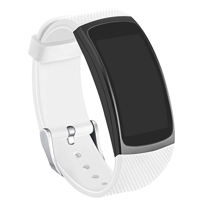 Kmasic Gear Fit2 Pro / Fit2 Bands, Correa de Repuesto de Silicona para Samsung Gear Fit 2 y 2 Pro Tracker (Blanco)