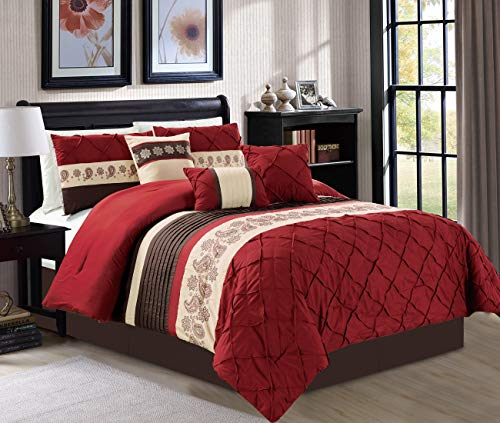 JBFF Oversize 7 Pieces Luxury Embroidery Bed in Bag Microfiber Comforter Set, Burgundy, - Bag A Bed Burgundy In