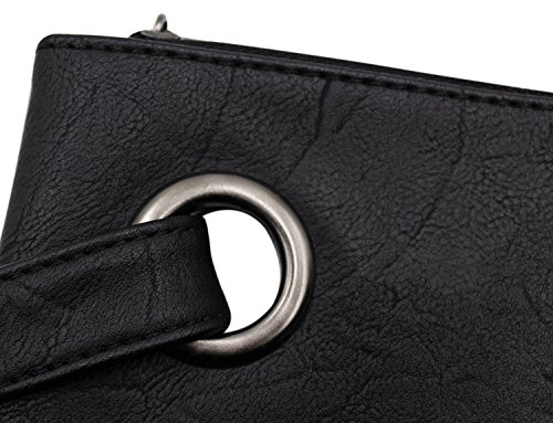 Bag Black Leather Wrist Women Bag Envelope Clutch Evening Oversized PU Handbag xFzxT