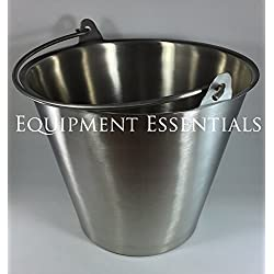 Stainless Steel Bucket Pail 13 Qt. Quart Heavy Duty Medical MRI Dog Puppy Kennel Farm Ranch Water Ice Milk Utility Grooming Feeding Carrying with Handle Veterinary