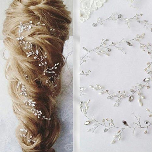 Yean Silver Wedding Headband Bridal Long Hair Vine Halo for Women and Girls (Silver) by Yean