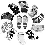 YOHOOLYO Baby Socks 10 Pairs Assorted Non Skid Cotton Socks 16-36 Months Walker Boys Girls Toddler Anti Slip Stretch Knit Stripes Star Sneakers Crew Socks