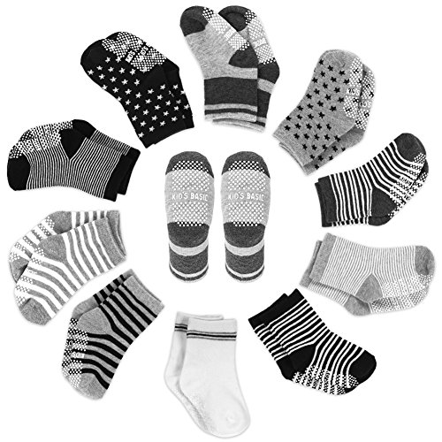 YOHOOLYO Baby Socks 10 Pairs Assorted Non Skid Cotton Socks 16-36 Months Walker Boys Girls Toddler Anti Slip Stretch Knit Stripes Star Sneakers Crew Socks ()
