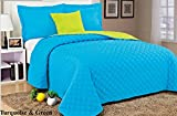 High Fashion 4-Piece Diamond Reversible Quilt Set Microfiber Queen Turquoise & Green
