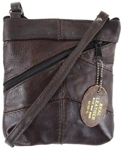 Ladies Leather Cross Body Bag / Purse ( Brown )