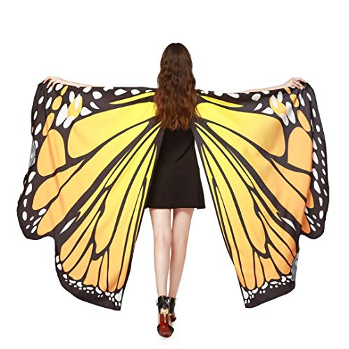 Halloween Party Soft Fabric Butterfly Wings Shawl Fairy Ladies Nymph Pixie Costume Accessory (168135CM, Orange)