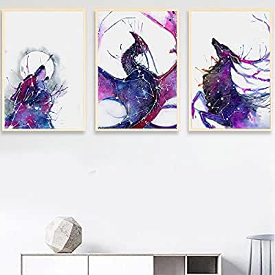 Constellation Dragon, Wolf and Deer Canvas Print, Wall Art,,