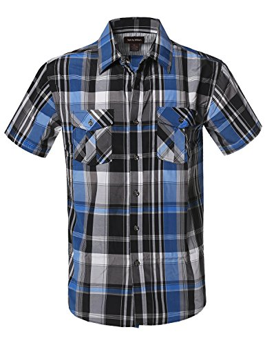 Style by William Western Casual Chest Pockets Button Down Shirts Black Blue - William Check