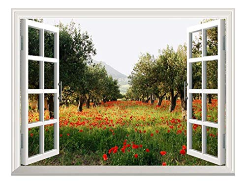 Removable Wall Sticker/Wall Mural - Poppy Fields Under Trees in a Orchard | Creative Window View Wall Decor - -