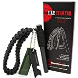 Surviveware Survival Fire Starter with Emergency Whistle, Paracord Handle and Steel Serrated Scraper. 15 000 Guaranteed Strikes