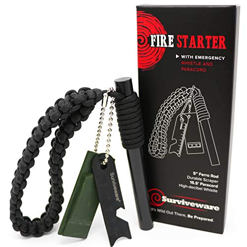 Surviveware Survival Fire Starter with Emergency Whistle, Paracord Handle and Steel Serrated Scraper. 15 000 Strikes Guaranteed Strike by Surviveware