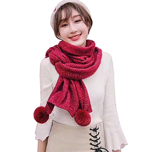 - LOUISE&FIONA Girls Women's Soft Knit Winter Scarf with Poms Cashmere Feel Shawl Wraps,Red