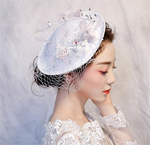 ELEGENCE-Z Elegant Flower Polka Dot Mesh Veil Feather Fascinator Hairpin Hat Wedding Cocktail (White)