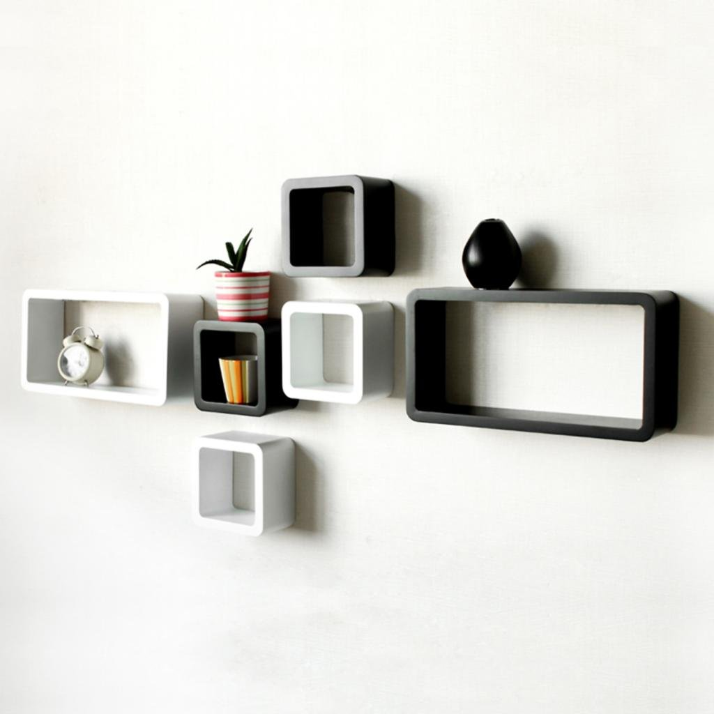 DecorNation 6 Piece Cube And Rectangle Storage Display MDF Shelf, Black And  White: Amazon.in: Home U0026 Kitchen Part 96