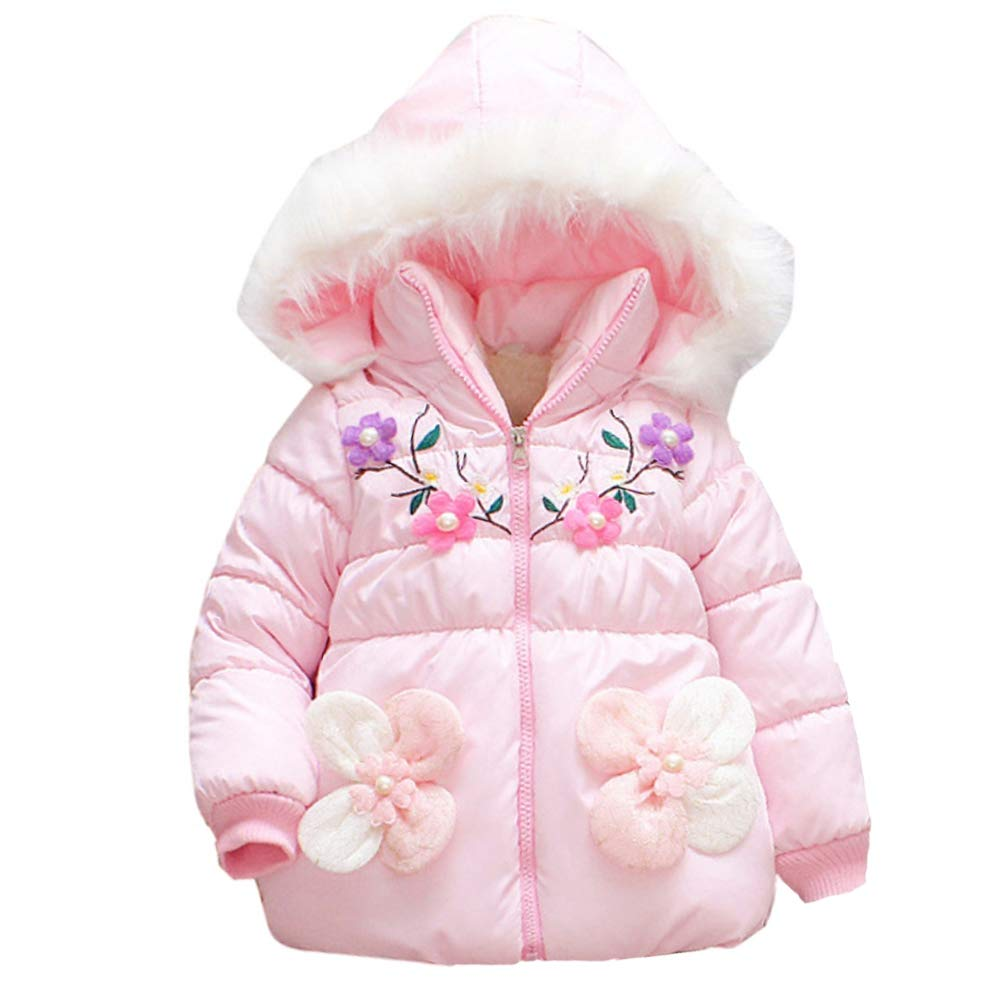 Forart Baby Girls Warm Hooded Jacket Outerwear Cashmere Comfort Cute Flower Coat