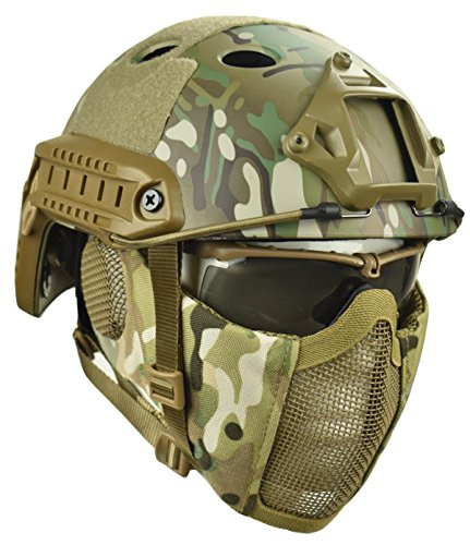 Jadedragon PJ Tactical Fast Helmet & Protect ear Foldable Double straps Half Face Mesh Mask & Goggle (Tactical Airsoft Helmet)