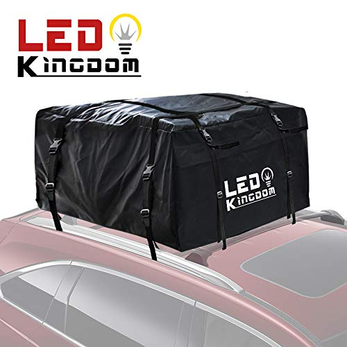 Car Roof Bag, Waterproof Cargo Top Storage Bag, 15 Cubic Feet Heavy Duty Rooftop Bag Vehicle Soft Shell Carrier Bag, Fits All Cars with Roof Rack, 4 Reinfored Straps ()