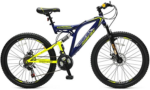 "Merax 26"" Dual Full Suspension 21 Speed Mountain Bike (Deep Blue&Green)"