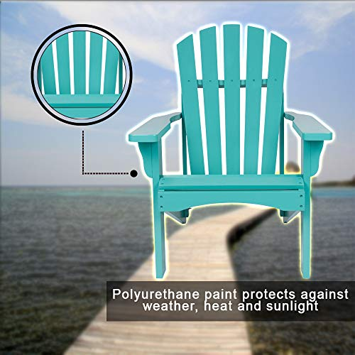 Teal Adirondack Chair Made of Yellow Cedar Wood Known for Its Natural Resistance to Moisture, Decay and Insect Damage Polyurethane Paint Protects Against Weather, Heat and Sunlight - Cedar Adirondack Tree Bench