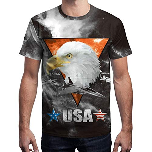 Mens Summer t Shirts Short Sleeve,Tronet Men's Summer USA Flag Casual Printed Men Shirts Loose Round Neck T-Shirt Tops
