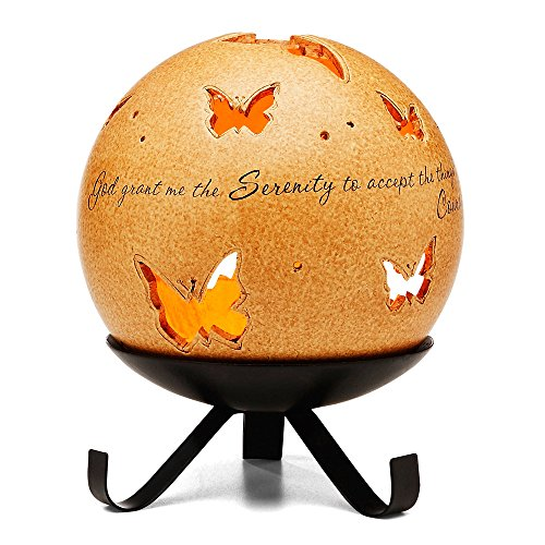 Comfort Candles Serenity Pavilion Gift Includes Tea Light Candle and Stand, 6-1/2-Inch, Butterfly Pierced - Holder Serenity Candle