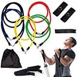 Resistance Bands Set with Door Anchor, Ankle Strap, Exercise Chart and Carrying Case by Manoks
