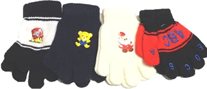 Set of Four Pairs Stretch Microfiber Lined Magic Gloves for Men Women Teens