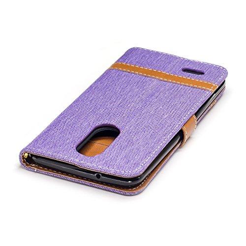 Para LG K8 2017 funda, (Vaquero rosa roja) Dril de algodón de colores mezclados caja del teléfono móvil de cuero PU Leather cubierta Función de Soporte Billetera con Tapa para Tarjetas correa de mano  Cowboy púrpura