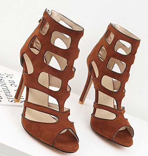 Peep Aisun Brown Hollow Sandals Women's Zip Chic up Shoes Block Toe ExvErRq