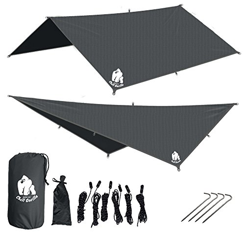 CHILL GORILLA 10′ HAMMOCK RAIN FLY TENT TARP Waterproof Camping Shelter. Lightweight RIPSTOP NYLON & Not Cheap Polyester. Stakes Included. Survival Gear. Backpacking Camping ENO Accessory.