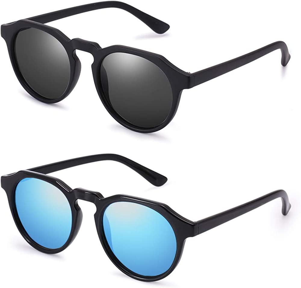 Classic Round Polarized Sunglasses for Men 2 Pairs PARZIN Fashion Shades PZ4367