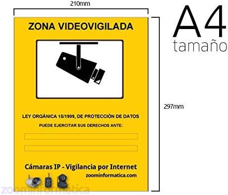 Cartel A4 rigido zona vigilada videovigilada de camaras informativo LOPD camara placa. Disuasorio contra robos. Diseño video vigilancia