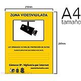 Cartel A4 rigido zona vigilada videovigilada de camaras informativo LOPD camara placa. Disuasorio contra robos