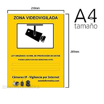 Pack 3 carteles A4 rigido zona vigilada videovigilada de adhesivo camara camaras informativo LOPD: Amazon.es: Industria, empresas y ciencia