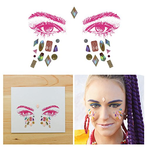 Tattify Bindi Rave Mixed Shapes Colorful Temporary Face Rocks - EDM - Other Styles Available, Fashionable Temporary Rhinestone Gem Face Jewel Stickers - Long Lasting and - Shape Face Chart