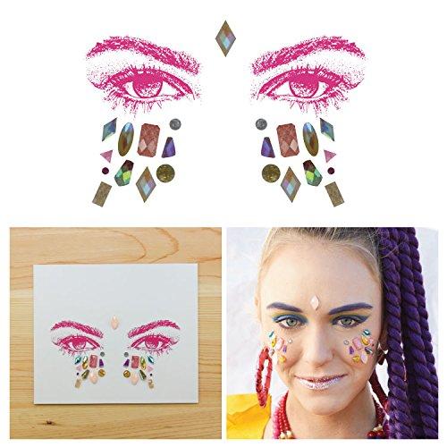 Tattify Bindi Rave Mixed Shapes Colorful Temporary Face Rocks - EDM - (Star Brights Lip And Cheek)