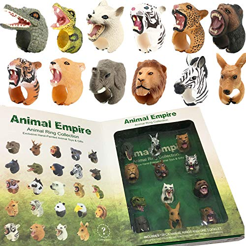 Animals Figure Rings, 12 Piece Jungle Animals Toys Set, Realistic Wild Vinyl Plastic Animal Learning Party Favors Toys for Boys Girls Kids Toddlers Forest Small Animals Playset