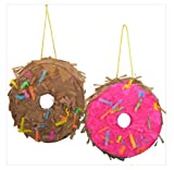 Party Mini Donuts Pinata (Pack of 3 - White, Brown & Pink) Perfect Fun Decorations For Parties, Birthday Party Theme Pinata